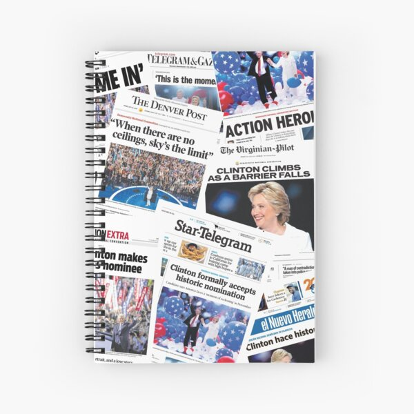 Hillary Clinton Nomination Historic Newspapers Spiral Notebook