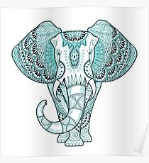 Turquoise Elephant Poster
