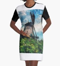 sketching windmill Graphic T-Shirt Dress