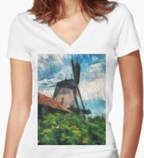 sketching windmill Women's Fitted V-Neck T-Shirt