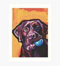 Chocolate Labrador Retriever Dog Bright colorful pop dog art Art Print