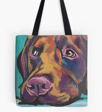 Chocolate Labrador Retriever Dog Bright colorful pop dog art Tote Bag