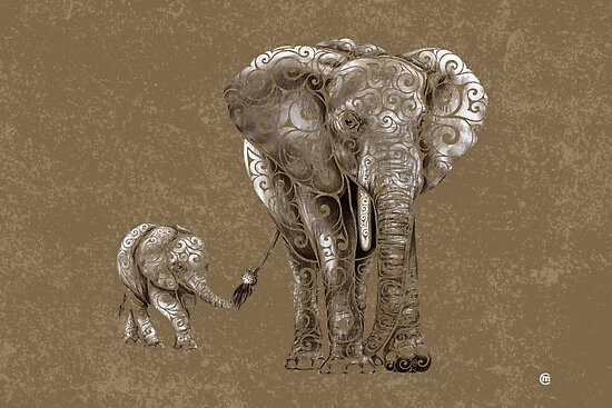 Swirly Elephant Family by . VectorInk