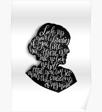 Virginia Woolf Quote and Silloette  Poster