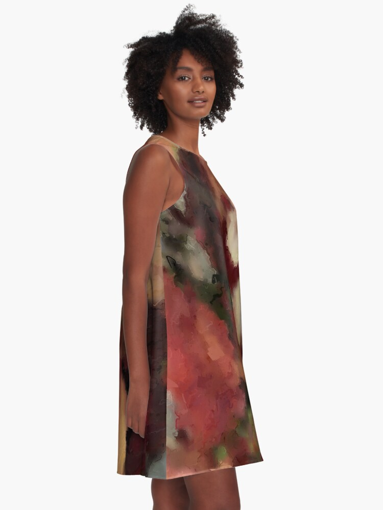 Alternate view of Autumn Watercolor Abstract A-Line Dress