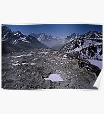 Aerial view of the Khumbu Glacier under Mount Everest Nepal Poster