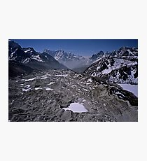 Aerial view of the Khumbu Glacier under Mount Everest Nepal Photographic Print