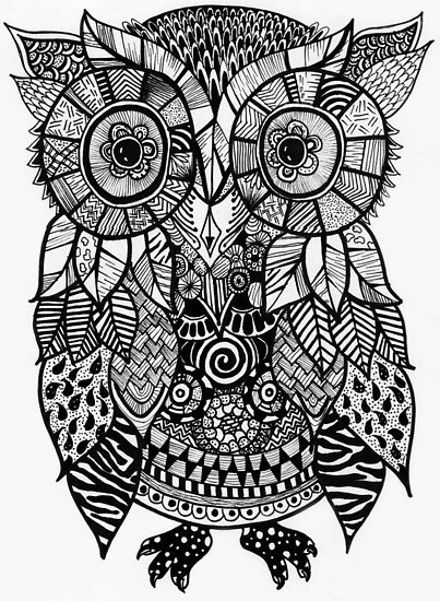 Quot Zentangle Owl Quot Poster By Miguelangelart Redbubble