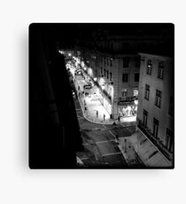 Night street scene in Baixa Lisbon Portugal Canvas Print