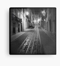 Night view Bica tram elevator in Lisbon Portugal Metal Print
