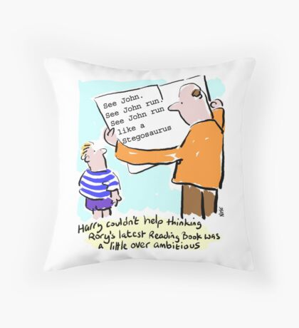 Cartoon - child and reading-book. Throw Pillow