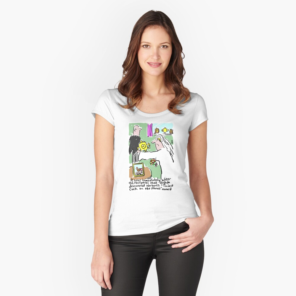 Cartoon - Tiniest Cock on Planet Award. Women's Fitted Scoop T-Shirt Front