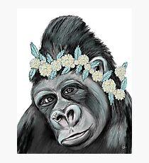 Gorilla with Flower Photographic Print