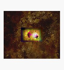 marriage of Titania; Salmon berry floral duet on brown  Photographic Print