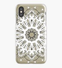 White Floral Mandala on Beige Background iPhone Case/Skin