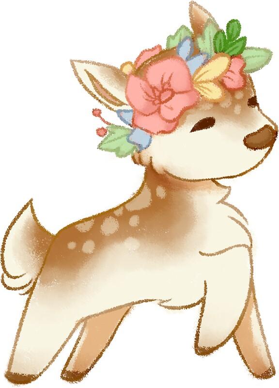 Quot Cute Flower Crown Doe Quot Stickers By Barkingbirb Redbubble