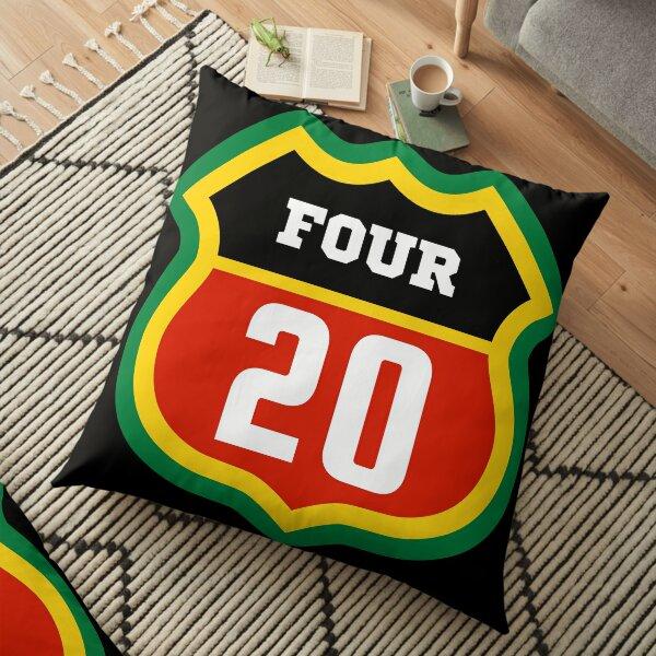 Number 420 reggae color badge design Floor Pillow