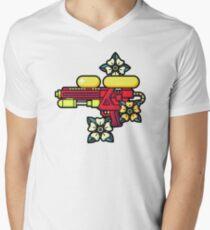 Flowers and watergun Men's V-Neck T-Shirt