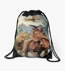 Dinosaurs in the snow Drawstring Bag