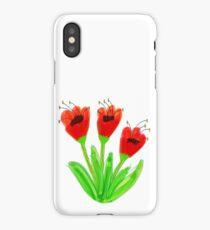 Bright Red Garden Tulips iPhone Case/Skin