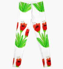 Bright Red Garden Tulips Leggings