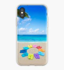Vinilo o funda para iPhone Color flip flops and drawing sun on sandy beach