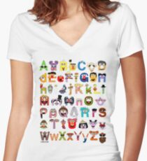 Sesame Street Alphabet Women's Fitted V-Neck T-Shirt