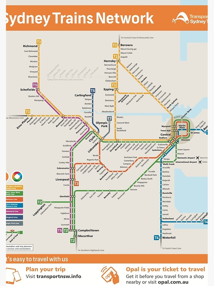 Sydney Train Map | Spiral Notebook