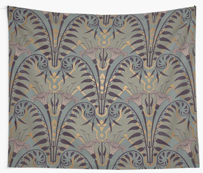 Genuine,original,art deco,art nouveau,wall paper, pattern\