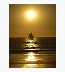 Golden Silhouette of a Pearl Lugger - Cable Beach Photographic Print