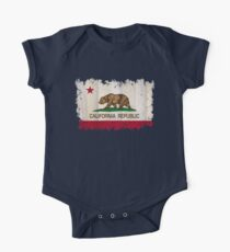 California Republic state flag - distressed edges on spruce planks One Piece - Short Sleeve