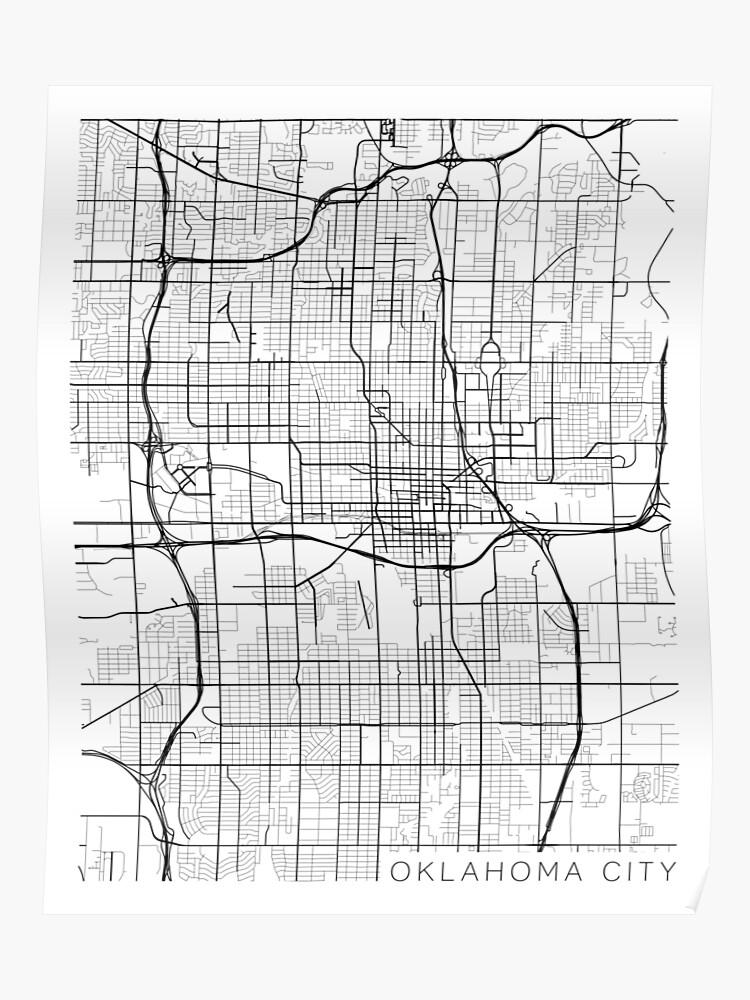 Oklahoma City Map, USA - Black and White | Poster