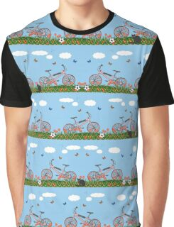Pink bicycles pattern Graphic T-Shirt