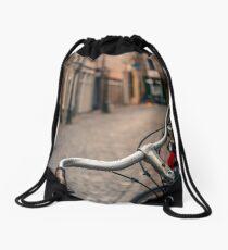 European Bicycle Scene Drawstring Bag