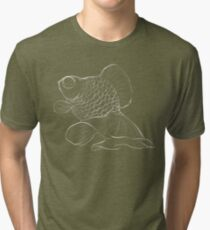 Starry-Eyed Sketchy Telescope Goldfish Tri-blend T-Shirt