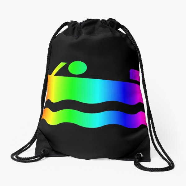 Rainbow Speedboat Drawstring Bag
