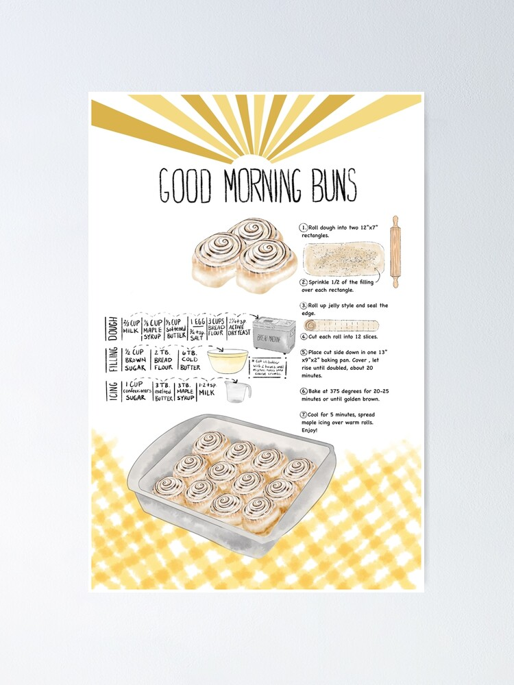 Alternate view of Illustrated Cinnamon Roll Recipe Poster
