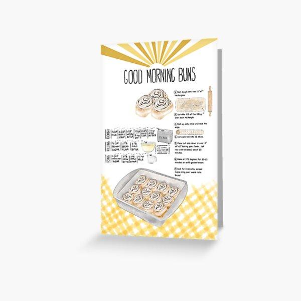Illustrated Cinnamon Roll Recipe Greeting Card