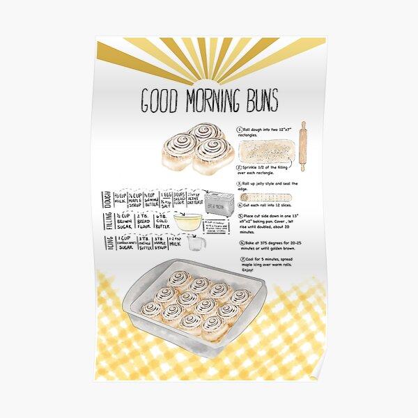 Illustrated Cinnamon Roll Recipe Poster