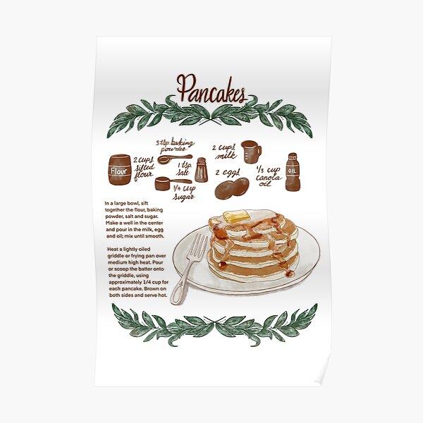 Illustrated Pancake Recipe Poster