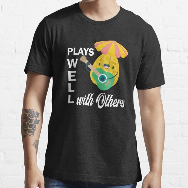 Plays Well with Others Funny Swingers Pineapple Black Essential T-Shirt