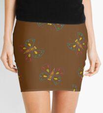 Butterflies on brown Mini Skirt