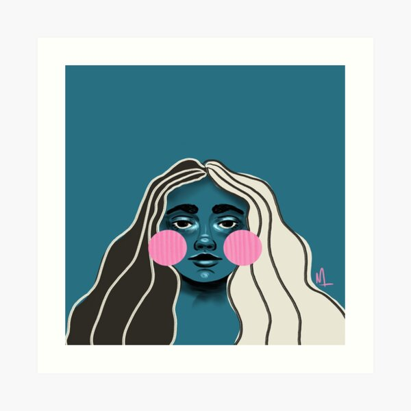Blushin Babe in Teal Art Print