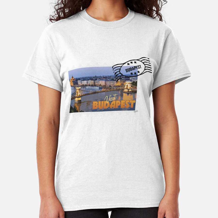 Old tourism postcard stamp - Visit Budapest Hungary Classic T-Shirt
