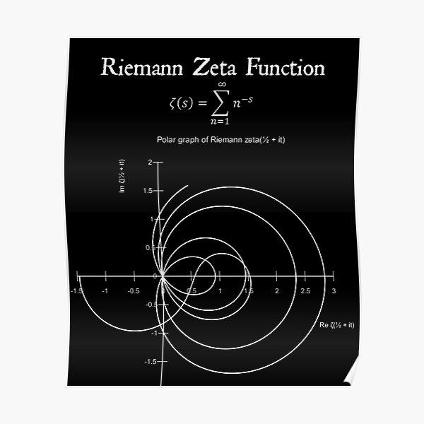 Riemann Zeta Function Vintage Math Physics Design Black Background Poster