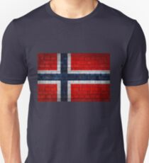 Norway flag on a brick wall surface T-Shirt