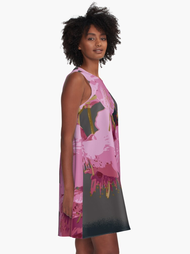 Alternate view of Beautiful Pink Sakura Cherry Blossoms Illustration A-Line Dress
