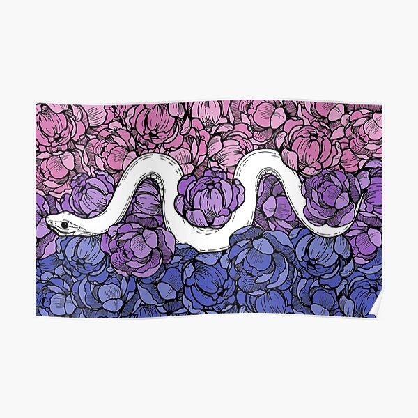 Bisexual Pride Floral Snake Design Poster