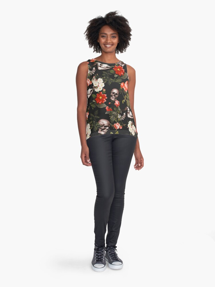 Alternate view of Skull and Floral Pattern Sleeveless Top