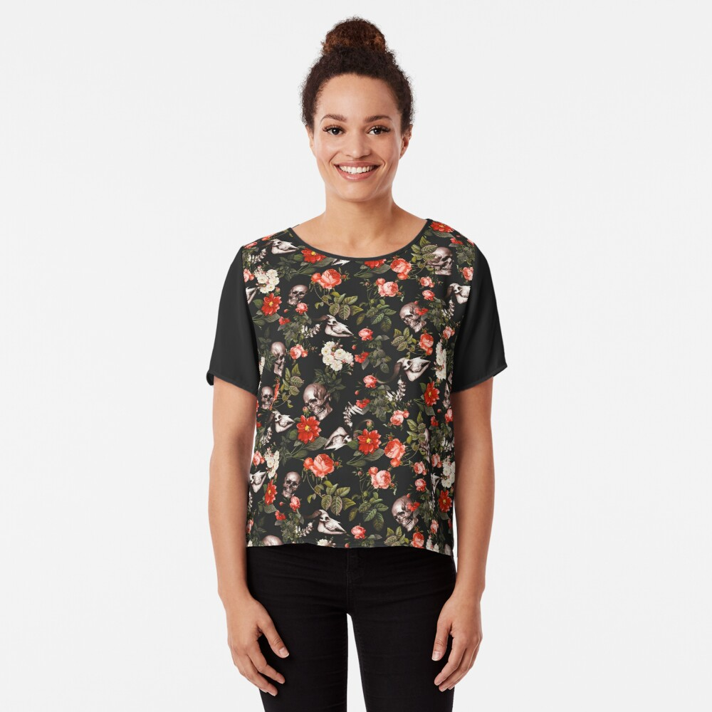 Skull and Floral Pattern Chiffon Top